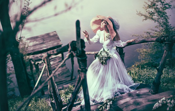 Picture water, girl, style, hat, dress, ladder, lilac, Valeriya Mytnik