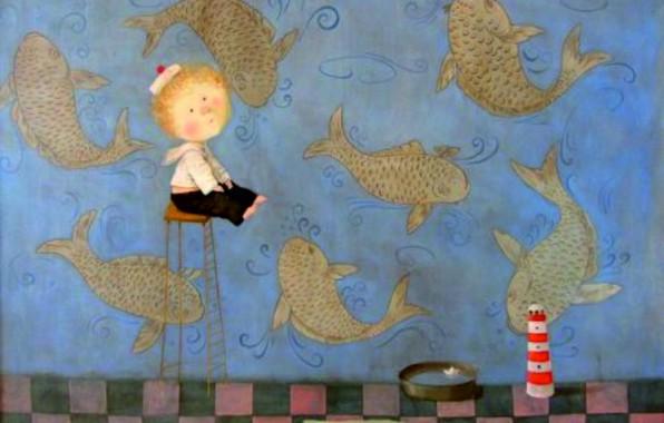 Picture fish, boy, bowl, Eugenia Gapchinska, A small miracle