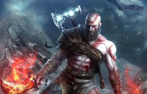 Picture look, weapons, bird, the game, art, beard, axe, Kratos, God of War4