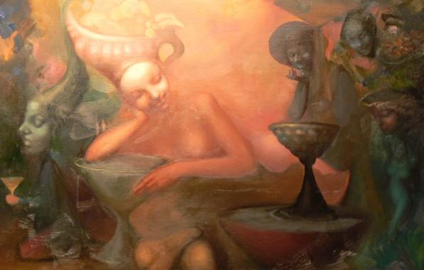 Picture girl, mask, Surrealism, statuettes, Lazarev I. A, fruit basket