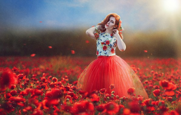 Picture field, girl, flowers, mood, Maki, texture, dress, Marina Baccardi