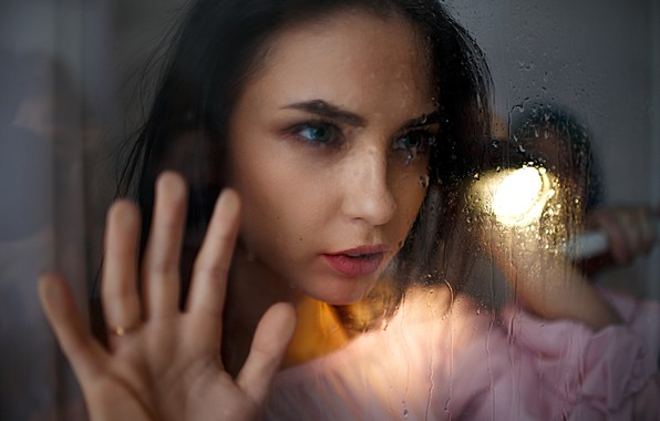 Picture glass, girl, drops, light, Ivan Losev