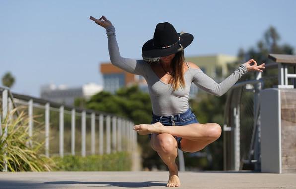 Picture girl, pose, flexibility, hat, yoga, legs