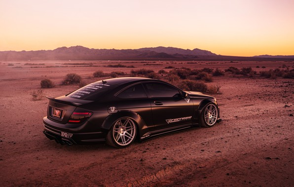 Picture design, style, background, black, desert, Mercedes, car