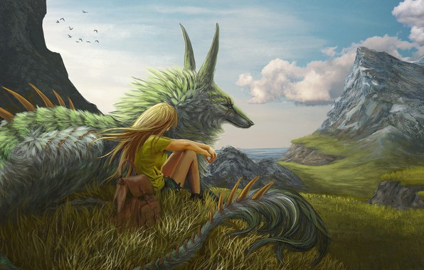 Picture girl, grass, fantasy, Dragon, sky, trees, sea, landscape, mountains, clouds, blonde, artwork, fantasy art, meadow, …