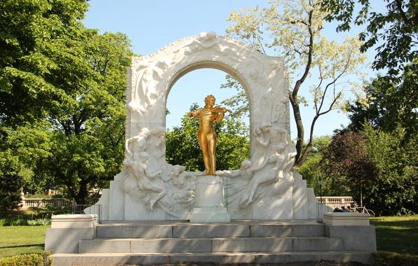 Picture greens, Austria, monument, statue, gold plated, attraction, violinist, Austria, sculpture, Vienna, Vienna, city Park, waltz, …