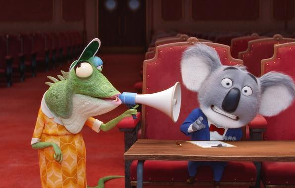 Picture cinema, movie, animal, film, chameleon, animated film, animated movie, family, theater, koala, Sing, megaphone