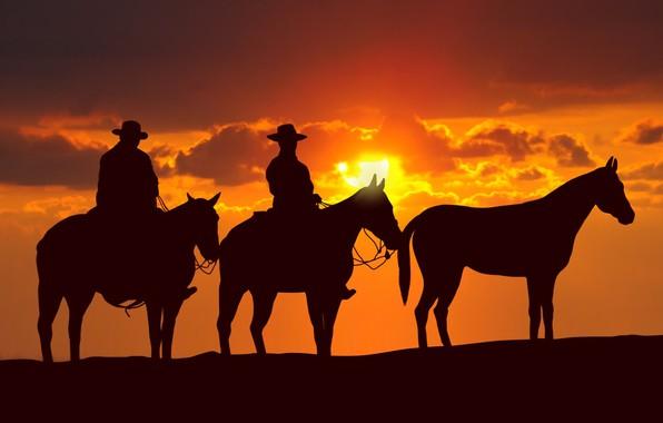 Picture USA, sky, hat, cloud, sun, man, american, animal, horse, cowboy, kumo