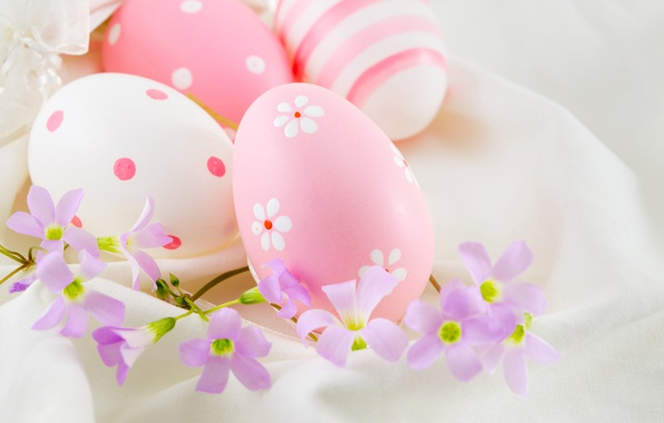 Picture flowers, Easter, pink, flowers, spring, Easter, eggs, decoration, Happy, the painted eggs