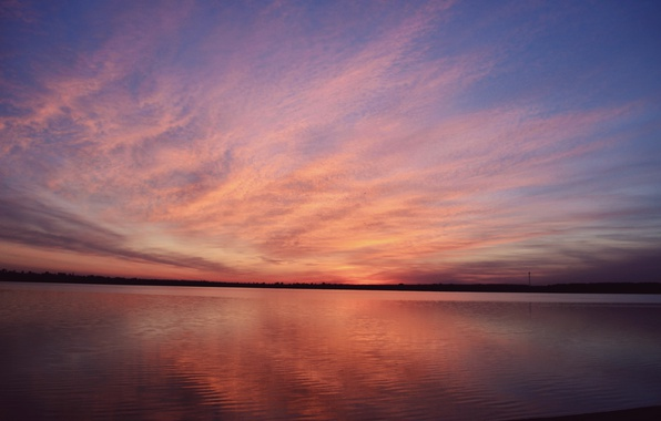Picture the sky, landscape, sunset, nature, lake