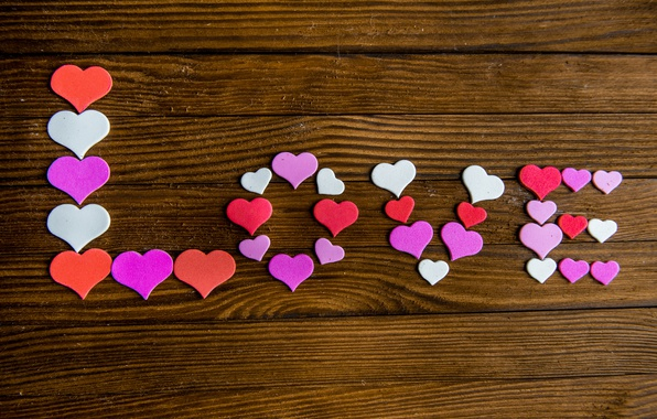 Picture hearts, love, heart, wood, romantic, sweet, valentine`s day