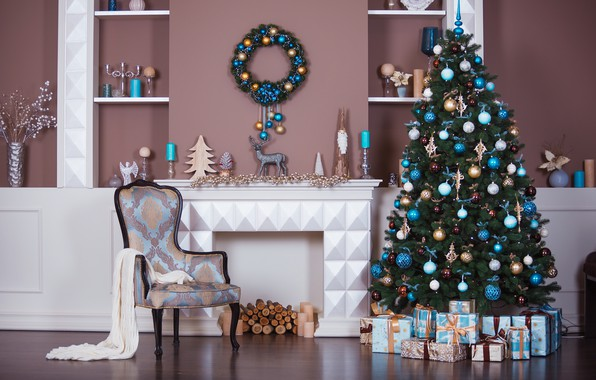 Wallpaper Room Xmas New Year Gifts Interior Design