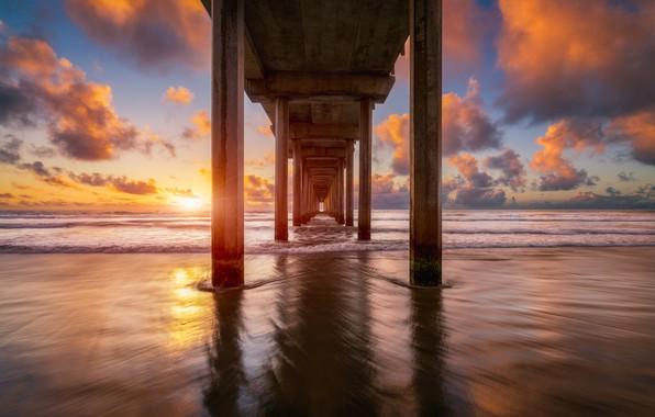Photo wallpaper bridge, shore, sea