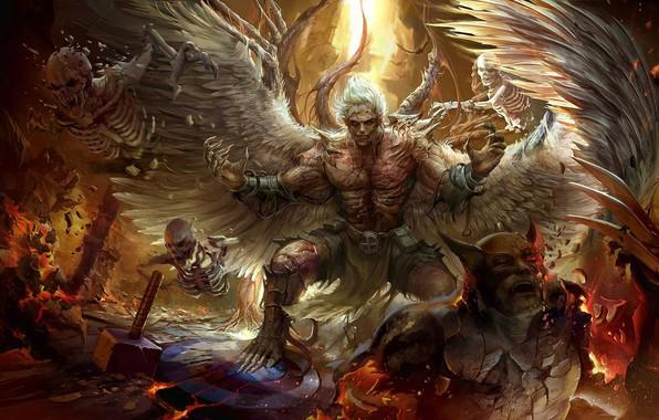 Picture angel, fantasy, art, battle, Derrick Song, Comicon challenge 2016 - Undead Angel