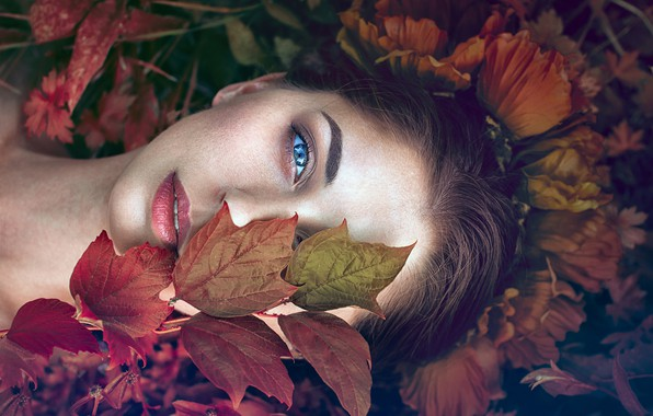 Picture look, leaves, girl, face, mood, Monica Lazar