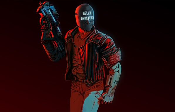Picture weapons, background, art, helmet, cyberpunk, character, shooter, 2017, RUINER