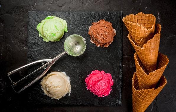 Picture ice cream, horn, dessert, wafer, ice cream
