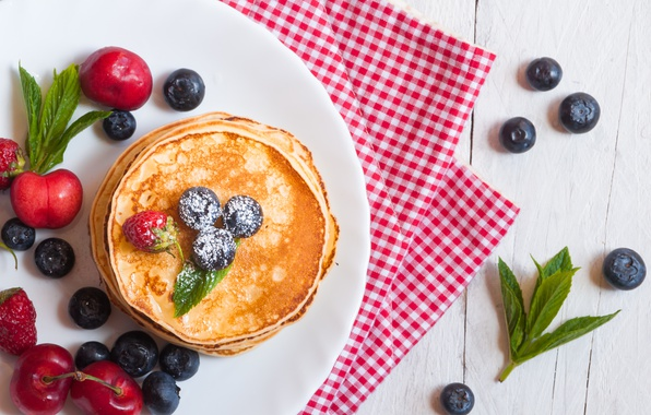 Picture berries, blueberries, pancakes, pancakes