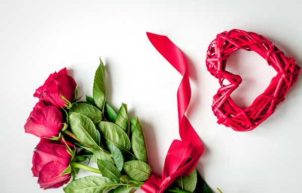 Picture love, flowers, heart, roses, red, red, love, heart, wood, flowers, romantic, Valentine's Day, gift, roses