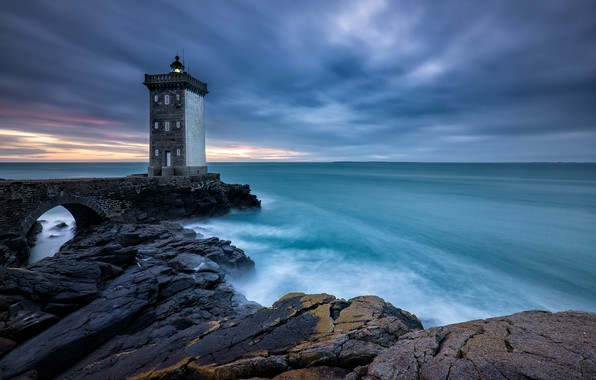 Picture sea, shore, lighthouse, France, Brittany, Le Conquet