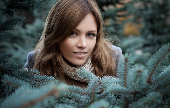 Picture look, girl, branches, nature, face, portrait, makeup, scarf, hairstyle, brown hair, beautiful, coat, coniferous, bokeh