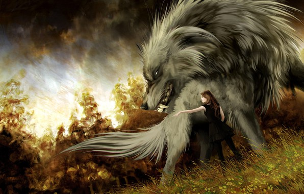 Picture girl, wolf, art, fantasy, Hound, Anna Podedworna