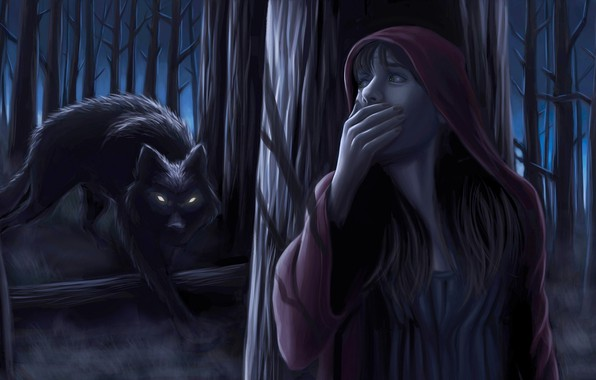 Picture forest, girl, night, wolf, little red riding hood