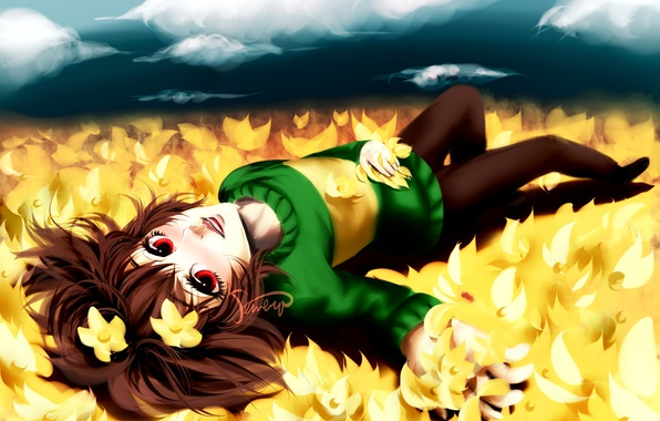 Picture field, the sky, girl, clouds, flowers, smile, anime, art, undertale, chara