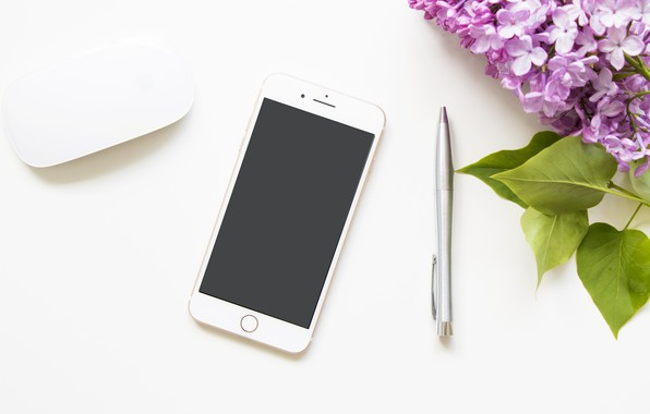 Picture flowers, mouse, handle, phone, lilac