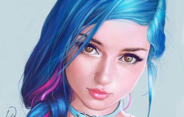 Picture look, girl, portrait, makeup, piercing, art, blue hair