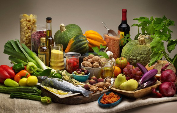 Picture wine, lemon, fish, bow, grapes, eggplant, pumpkin, pepper, nuts, vegetables, pear, pasta, Krupa, cuts, zucchini, …