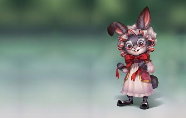 Picture art, Bunny, Bunny, bow, cap, children's, Rabbit, Aleksandra Chelysheva