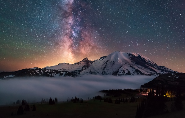 Picture forest, the sky, stars, light, night, lights, mountain, USA, the milky way, national Park, Washington, …
