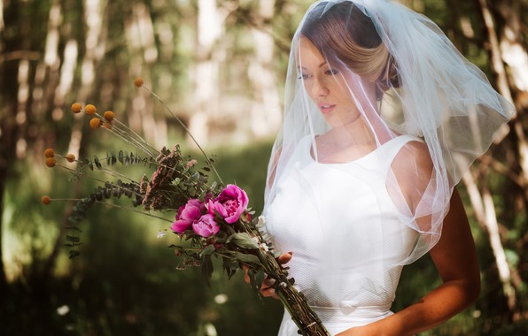 Picture flowers, bouquet, the bride, veil, wedding, bokeh, Olya Alessandra, Andreas-Joachim Lins