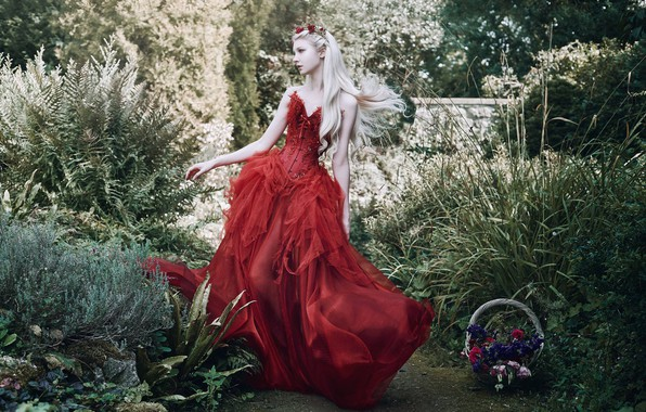 Picture girl, pose, style, mood, garden, red dress, Princess, long hair, Maria Amanda, Bella Kotak, a …