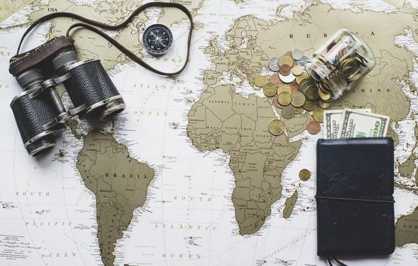 Picture map, money, binoculars, dollars, world map, detail, purse