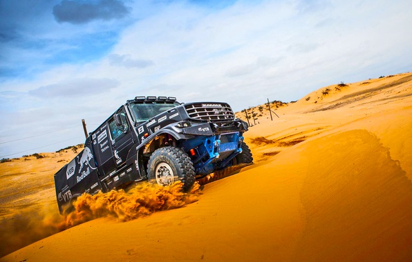 Photo wallpaper KAMAZ, Dakar, Kamaz, Black, Kapatnik, Dune, Rally, Master, Sand