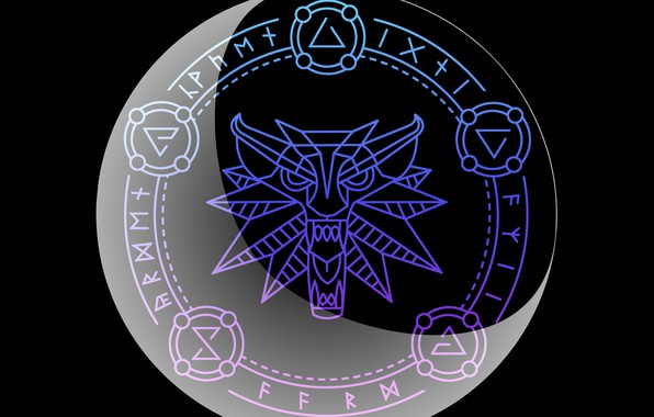 Picture wolf, round, signs, the witcher, the Witcher, runes, Crescent, Igny, The aard, Quen, Irden, Axi