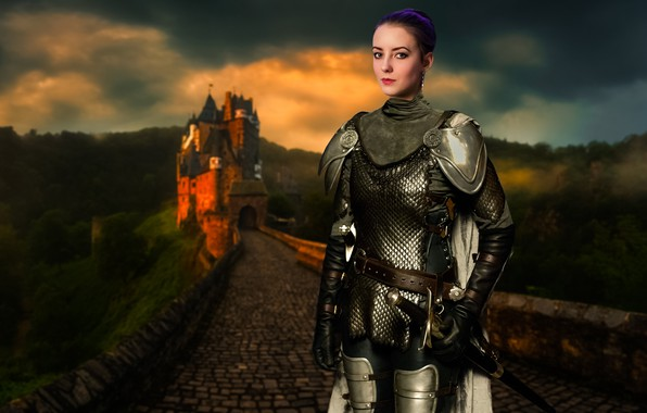 Picture light, girl, summer, fantasy, forest, fashion, armor, trees, nature, young, model, sun, pretty, mood, castle, …