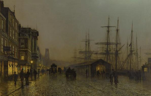 Picture ship, picture, mast, promenade, the urban landscape, John Atkinson Grimshaw, John Atkinson Grimshaw, Glasgow. Saturday ...