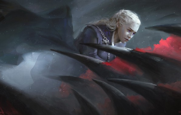 Picture dragon, figure, fantasy, art, blonde, the series, Game Of Thrones, Game of Thrones, Emilia Clarke, ...