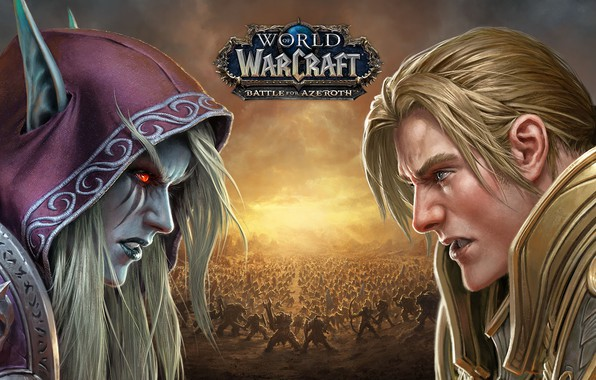 Picture undead, human, Sylvanas Windrunner, Horde, Alliance, Anduin Wrynn, Forsaken, Battle for Azeroth, Wolrd of Warcraft