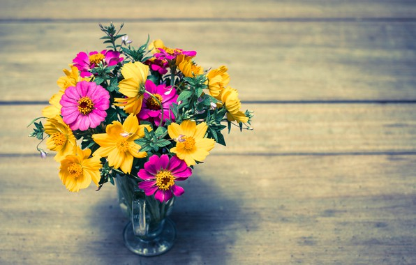 Picture flowers, bright, bouquet, colorful, wood, flowers