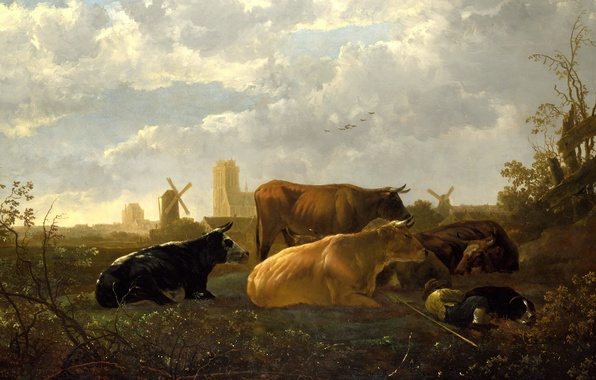 Picture animals, dog, picture, cows, windmill, The Albert Cuyp, Aelbert Jacobsz Cuyp, Small Dort