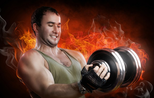 Picture background, fire, flame, power, smoke, watch, Mike, gloves, athlete, male, iron, muscle, training, athlete, biceps, ...