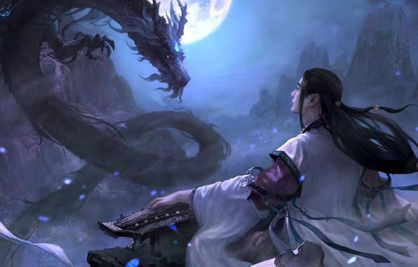 Picture magic, dragon, the game, art, fantasy, bard, location, Moky lin, 2D ConceptArt
