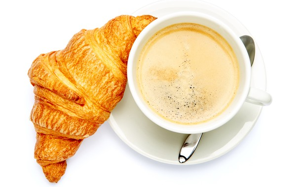 Picture coffee, spoon, Cup, white background, drink, the view from the top, saucer, croissant