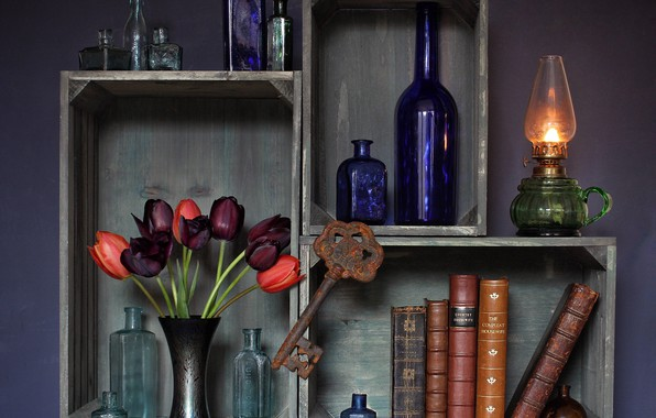 Picture flowers, rusty, fire, books, lamp, key, tulips, kerosene stove, boxes, vase, bottle