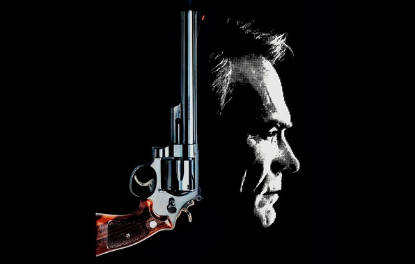 Picture gun, weapon, man, classic, face, Clint Eastwood, revolver, Smith & Wesson, 1988, S&W, The Dead …