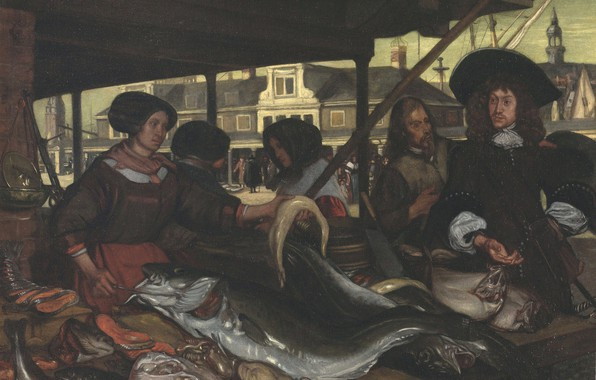 Picture fish, market, intestine, Emanuel de Witte, in Amsterdam, 1655, The New Fishmarket